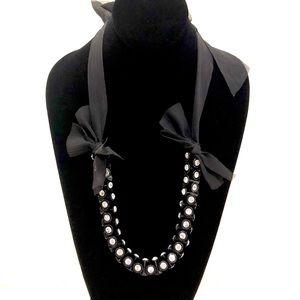 J CREW 🌟black organza ribbon flashlight necklace